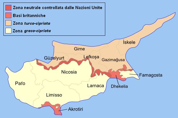 Mappa suddivisione amministrativa di Cipro